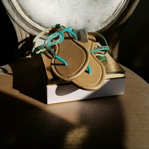 eea5a61995c7 sashu Shoes - Aqua Size 10 bling flat sandals